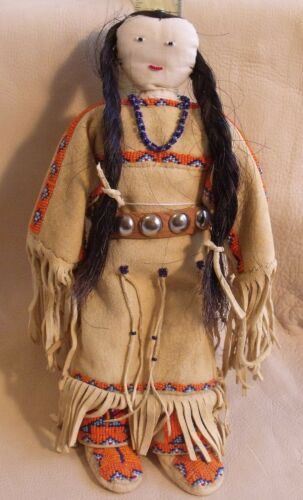 Sioux Indian doll fringed & beaded leather dress moccasins necklace concho belt