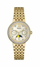Bulova Women's 98R224 Diamond Moon Phase Quartz Yellow Gold Dress Watch