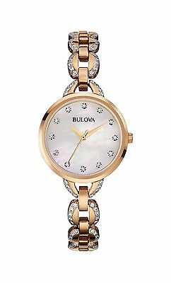 Bulova Women's 98L207 Crystal Markers and Band Rose Gold Quartz Dress Watch