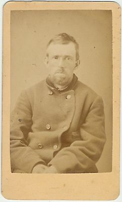 ANTIQUE CDV PHOTO CIVIL WAR SOLDIER? ENOS HALE IN PENCIL BEARDED MAN PEAS COAT