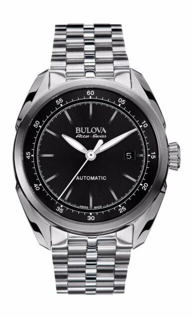 bulova stainless steel black dial automatic men s watch 63b193 bulova accu swiss men s 63b193 tellaro swiss automatic black dial 42 5 mm watch