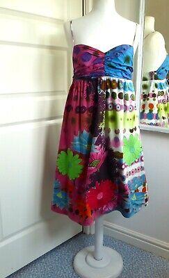 DESIGUAL Sun Dress Lotus Flower Embroidered Cotton Strappy Holiday Sz 42 UK 14 Lotus Flower Dress