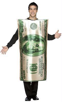 Erwachsene Ben Franklin 100 Dollar Bill Geld Bargeld Tunika Party Kostüm GC335
