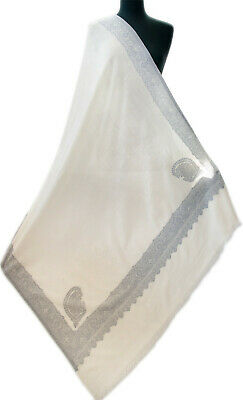 White Large Kani Fine Wool Jamawar Shawl Floral Paisley Periwinkle on Ivory (Fine Wool Shawl)