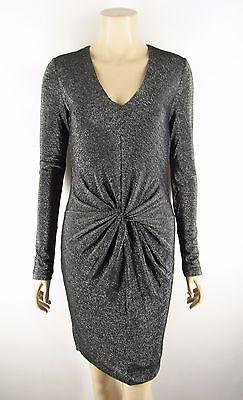 Ted Baker London NEW Lizzey V-Neck Sparkle Twist Cocktail Dress Silver -