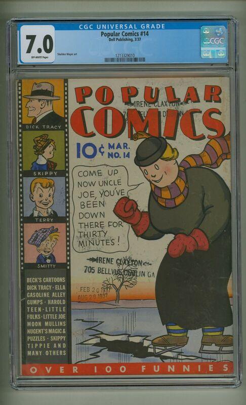 Popular Comics 14 (CGC 7.0) O/W pages; Sheldon Mayer art; Dell; 1937 (c#23744)