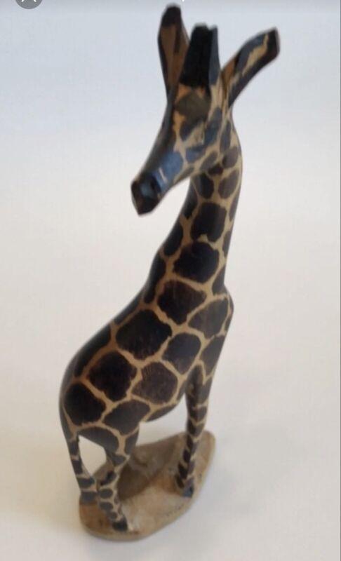 "Hand Carved Wooden 8"" Giraffe"