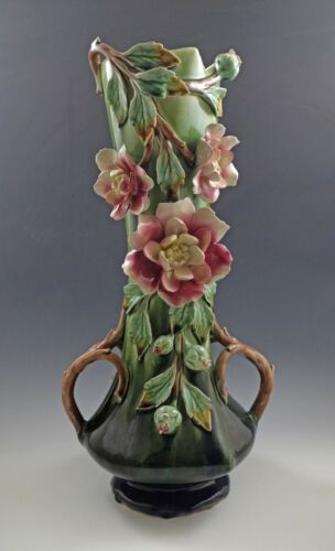 VICTORIAN FRENCH BARBOTINE MAJOLICA  CABBAGE ROSE HANDLED LARGE VASE, 14""