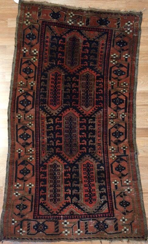 Terrific Tribal - 1900s Antique Oriental Rug - Nomadic Carpet - 3 X 5.2 Ft.