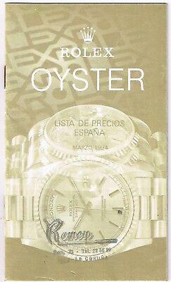 ROLEX Vintage Price List 1994 Spain Daytona Zenith 16520 16570 16600 GMT 16700