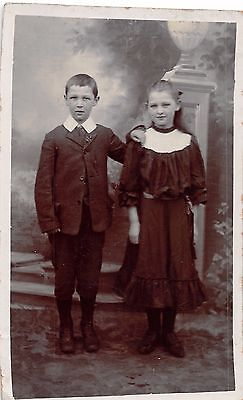 Boy & girl, siblings ?, studio portrait, Eton collar, smock dress,   (Eton Boys Dress)