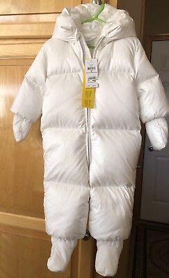 New $165 Ralph Lauren Infant Warm Down Snowsuit Bunting White Size 12 Months