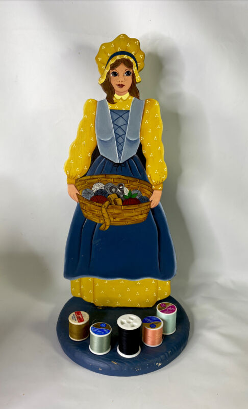 Vintage Antique Wooden Handmade Sewing Girl Thread Spool Holder = Adorable Girl