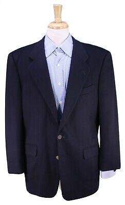 HICKEY-FREEMAN Solid Navy Blue 100% Cashmere w/ Roma Coin Button Blazer 41R 42R