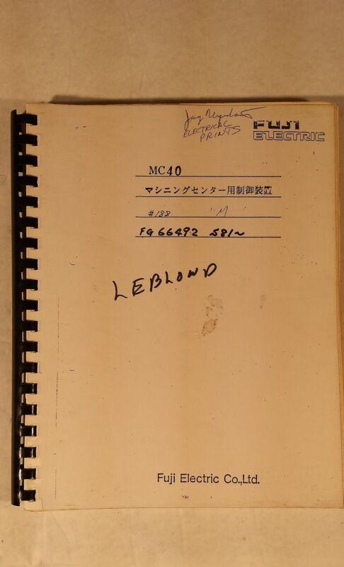LEBLOND MC40 ELECTRICAL DRAWING PLC PARTS LIST