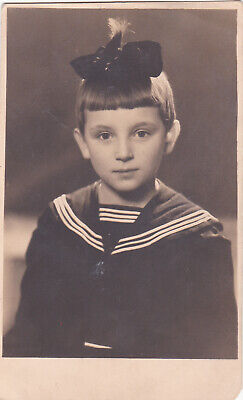 1930s Cute little girl in navy sailor costume w/ bow old Russian antique photo](Little Girl Sailor Costume)