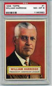 1956 Topps PSA 8 #1 William Harridge Gray Back Variation