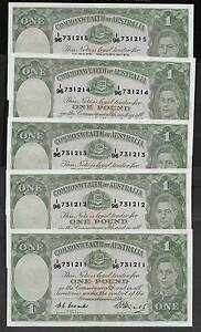 BANK NOTES: 10 X R31 1949 ONE POUND  CONSECUTIVE NOTES HIGH GRADE Kununurra East Kimberley Area Preview