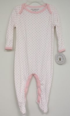 Burts Bees Baby One Piece Outfit white Pink allover print footed New Organic