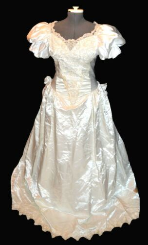 Unbranded Vintage 80s White Satin Beaded Lace Wedding Dress size 14