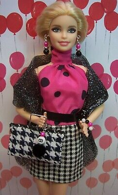Barbie Pink & Houndstooth Party Dress Accessorized for Play Fun