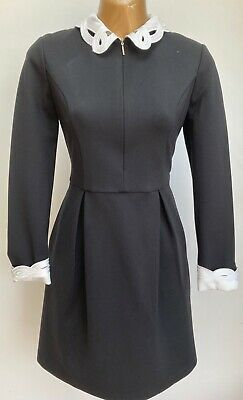 TED BAKER SHEALAH EMBROIDERED COLLAR BLACK IVORY WORK/OFFICE OCCASION DRESS 12