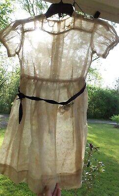 UNIQUE! Vintage ORGANDY Light GREEN Floral Child's DRESS Doll DRESS MATERIAL