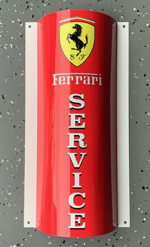 FERRARI SERVICE Curved Retro Style Reproduction Garage Sign