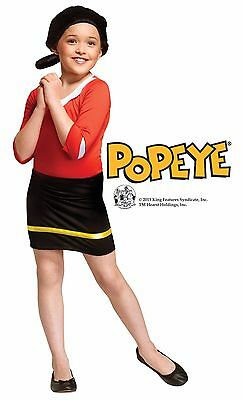 Girls Olive Oyl Costume Halloween Fancy Dress Oil Popeye Kids Child S M L Outfit (Olive Popeye Costume)