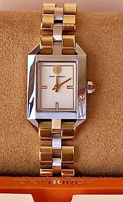 NEW! TORY BURCH Dalloway Silver & Gold Two-Tone Stainless Steel Watch TBW1102