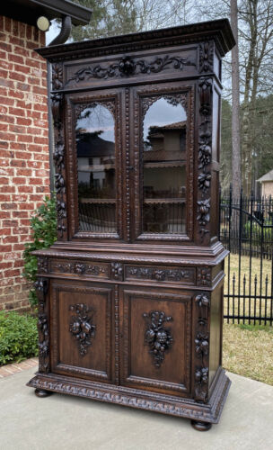 Antique French Bookcase HUNT Cabinet Display Buffet BLACK FOREST Oak 19th C