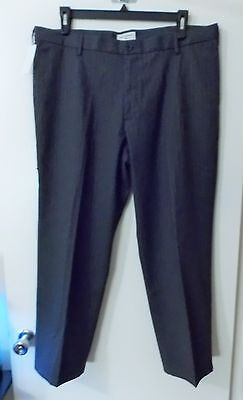 NWT* DOCKERS BEST PRESSED GRAY PINSTRIPE FLAT FRONT STRAIGHT FIT KHAKIS~ 40 X