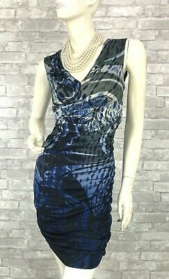 Emilio Pucci New Blue Stretch Cocktail Dress Zip 6 US 42 IT M Ruched Runway Auth