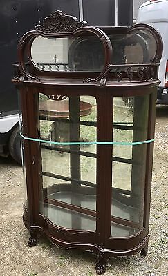 CARVED ART NOUVEAU MAHOGANY SERPENTINE DOOR CHINA CABINET Art Nouveau Door Furniture