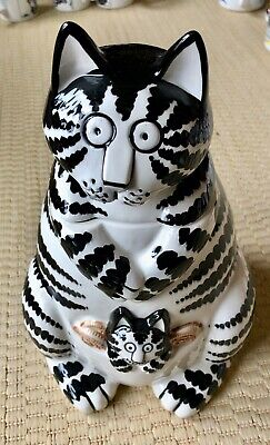 Vintage And Rare B Kliban Black And White Cat Cookie Jar Oreos Kitty In Pouch