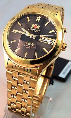 Orient Gold Tone Day/Date Men's Automatic Watch Cut Glass Orient Box  Black Dial
