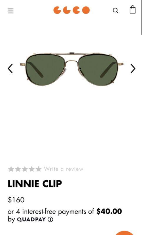 Garrett Leight Linnie Clip 51 Brushed Gold/Green