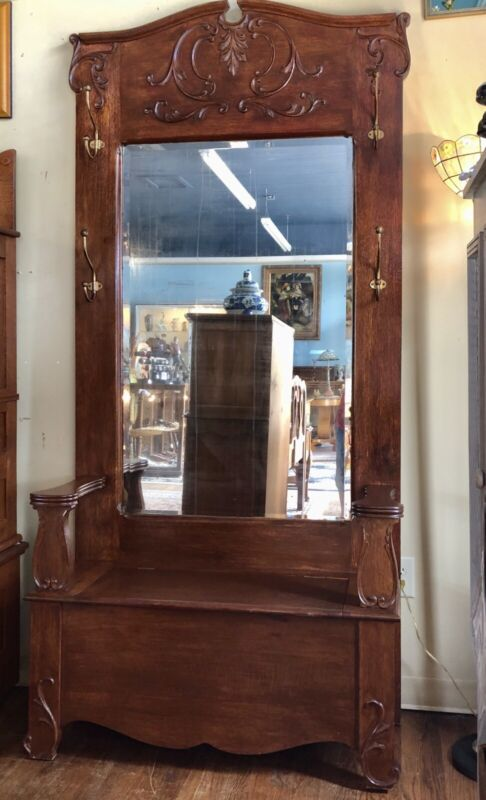 C1900 AMERICAN OAK HALL TREE BEVEL MIRROR LIFT UP STORAGE SEAT 4 ORG BRASS HOOKS