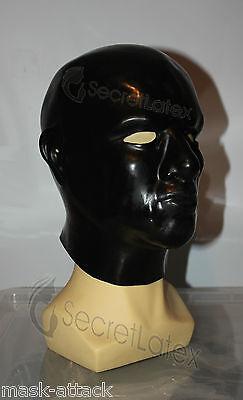 BLACK LATEX HOOD RUBBER BONDAGE GIMP ANATOMICAL FETISH DRESS MASCULINE MALE MASK