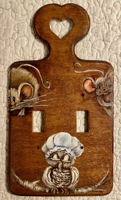 Vintage Mouse Nice Owl Double Switch Plate Cover Artist Signed