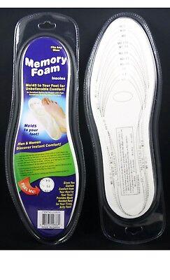 2 Memory Foam Shoe Insoles Unisex Insert Comfort Pads Foot Cushion Size Chart