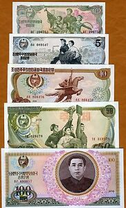 SET-North-Korea-1-5-10-50-100-Won-1978-P-18-19-20-21-22-aUNC-UNC