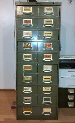 Vintage Steel Filing Cabinet 20 Drawers W Dividers Industrial Office Mid Century