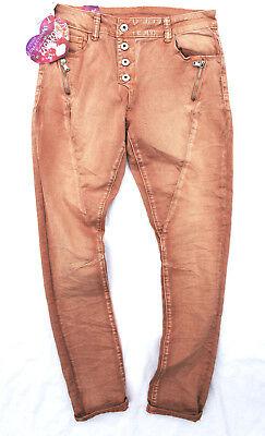 Zac&Zoe NEW Stretch Damen Jeans Hose braun beige Boyfriend Baggy Knopfleiste 311