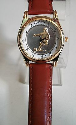 Designer gold polish off kill brown leather band Soccer  the craze watch
