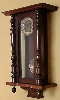 Antique 19th Century Mahogany Vienna Regulator Wall Clock with Key & Pendulum