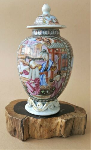 Rare China Qianlong Mandarin Porcelain Tea Caddy 18. Ct