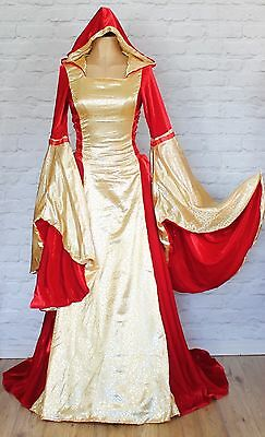 Theatre Renaissance Period Victorian Style Gown Dress Stage Hooded UK 8-14