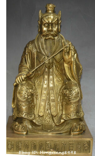 China Ancient Taoism Bronze Gold Dragon Zhang Tianshi Old Master weapon statue