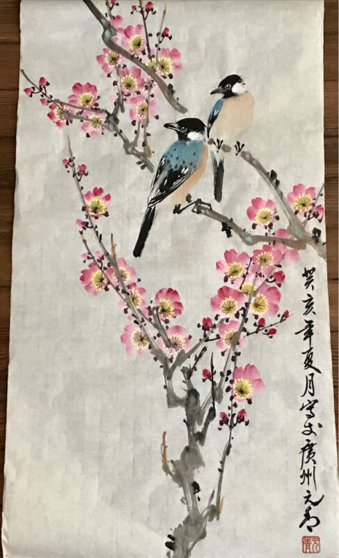 3 Chinese Watercolor Painting on Silk Paper Cherry Blossom /Birds Seal Vintage